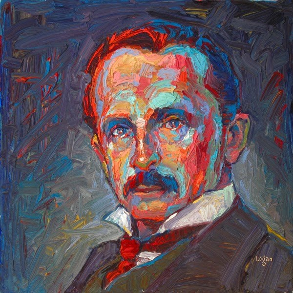 """J.M. Barrie"" original fine art by Raymond Logan"