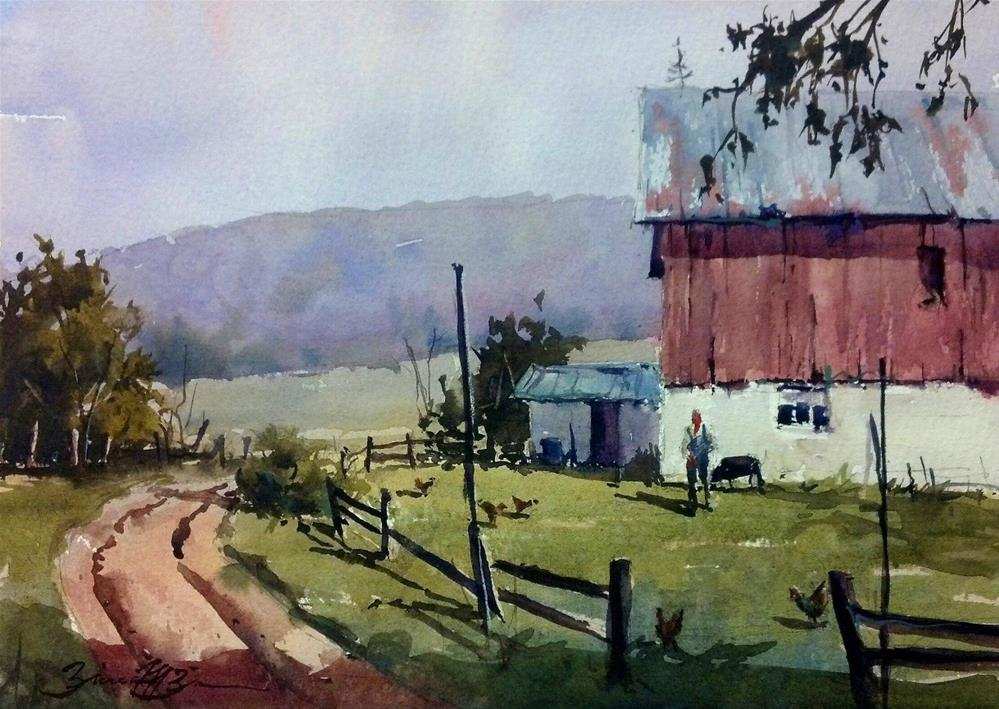 """Farmer Jodon's Morning"" original fine art by Brienne M Brown"