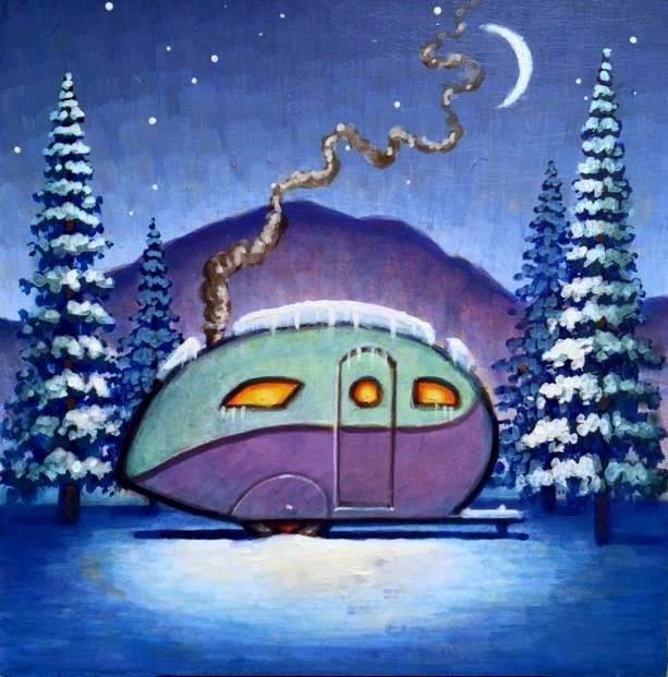 """Winter's Night"" original fine art by Robert LaDuke"