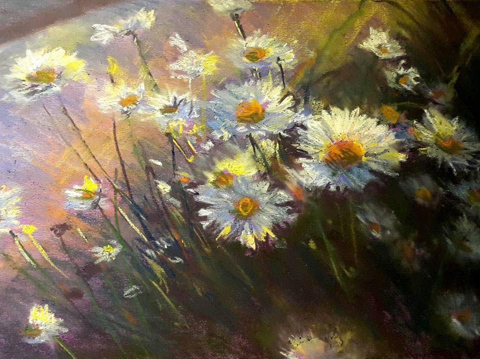 """Daisies at dawn"" original fine art by Rentia Coetzee"