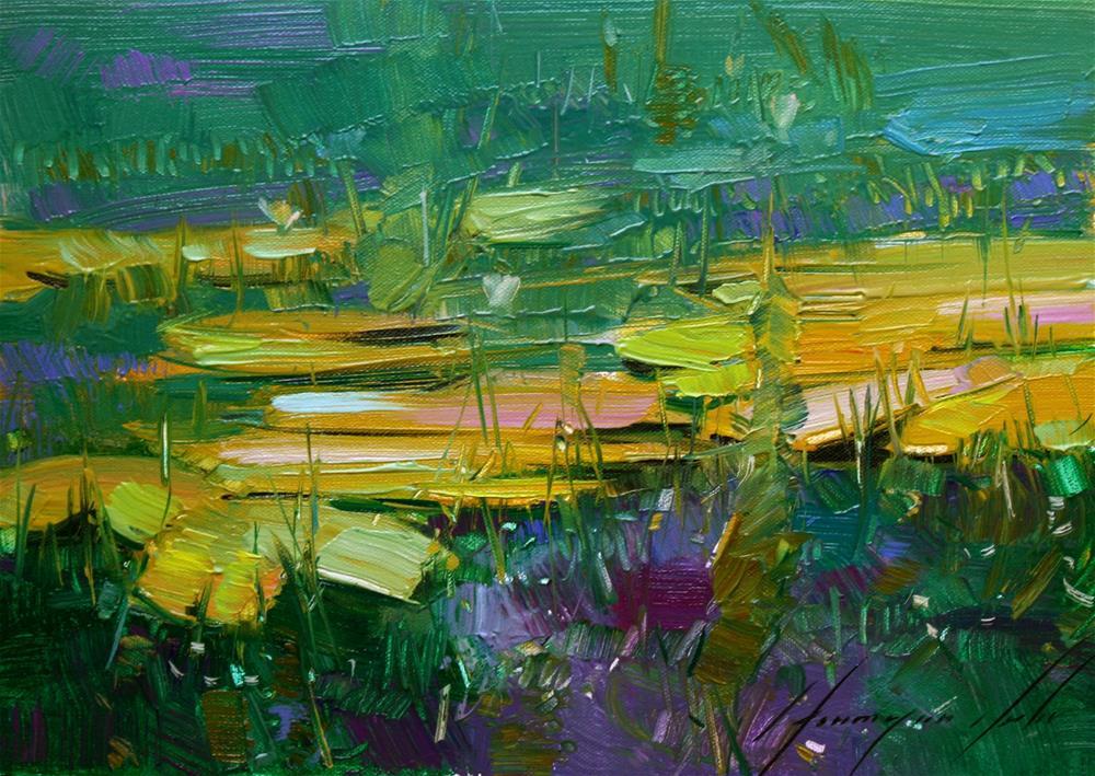 """WATERLILIES POND ORIGINAL OIL PAINTING"" original fine art by V Y"