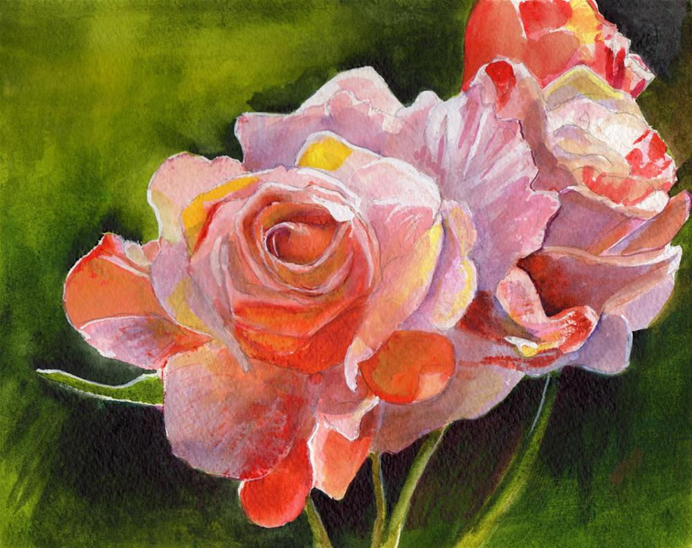 """""""Pink and White Roses"""" original fine art by Bunny Griffeth"""