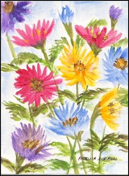 """""""Colored Daisies"""" original fine art by Patricia Ann Rizzo"""