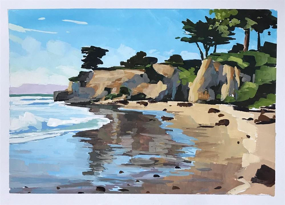 """Santa Barbara Beach Reflections"" original fine art by Sharon Schock"