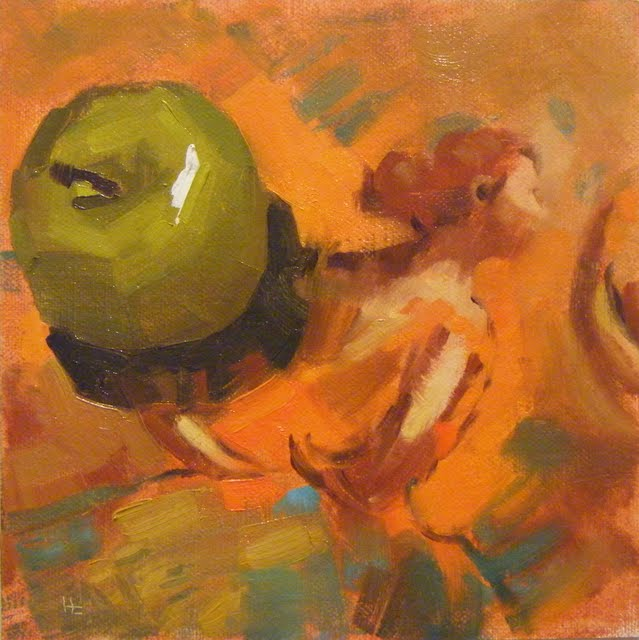 """HOMAGE TO DEGAS WITH GREEN APPLE"" original fine art by Helen Cooper"