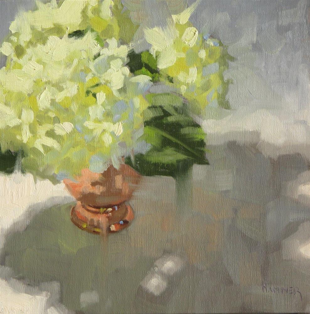 """Three white Hydrangeas  8 x 8  oil"" original fine art by Claudia Hammer"