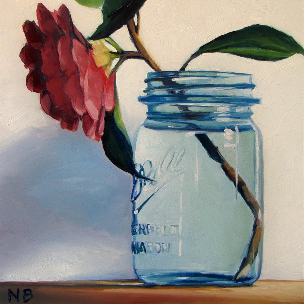 """Camellia in Canning Jar"" original fine art by Nora Bergman"