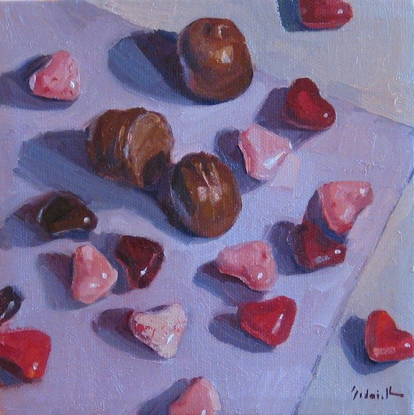 """""""Cherry Hearts a still life oil painting of valentines day candy hearts and chocolates"""" original fine art by Sarah Sedwick"""