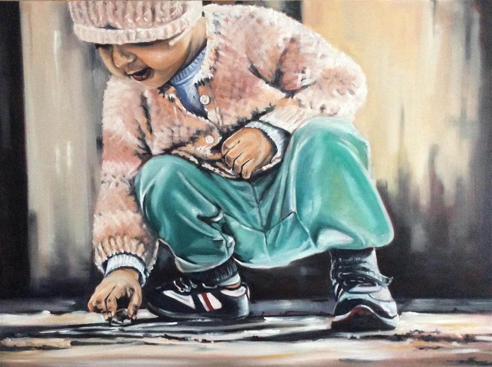 """""""Little street artist"""" original fine art by Sonja Neumann"""