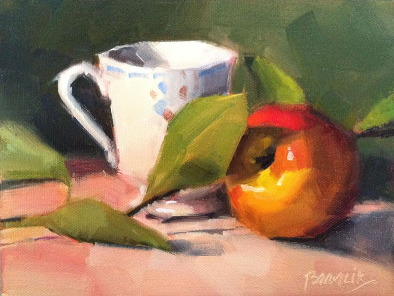 """Tea Leaves Apple"" original fine art by Candace Brancik"