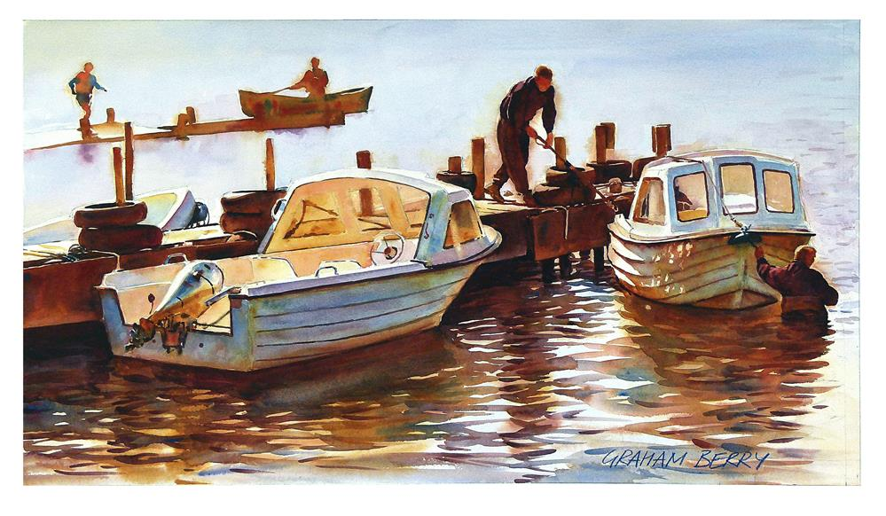 """""""Two men and two boats."""" original fine art by Graham Berry"""