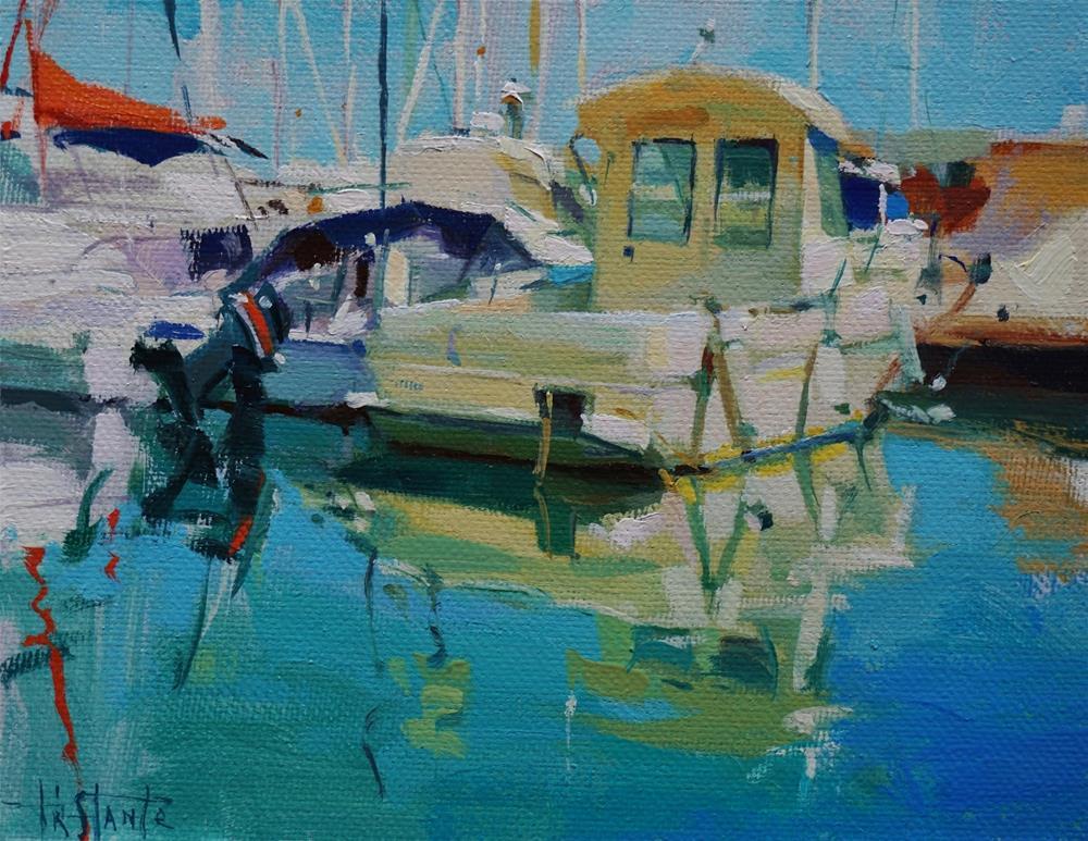 """""""MIdday at harbour"""" original fine art by Víctor Tristante"""