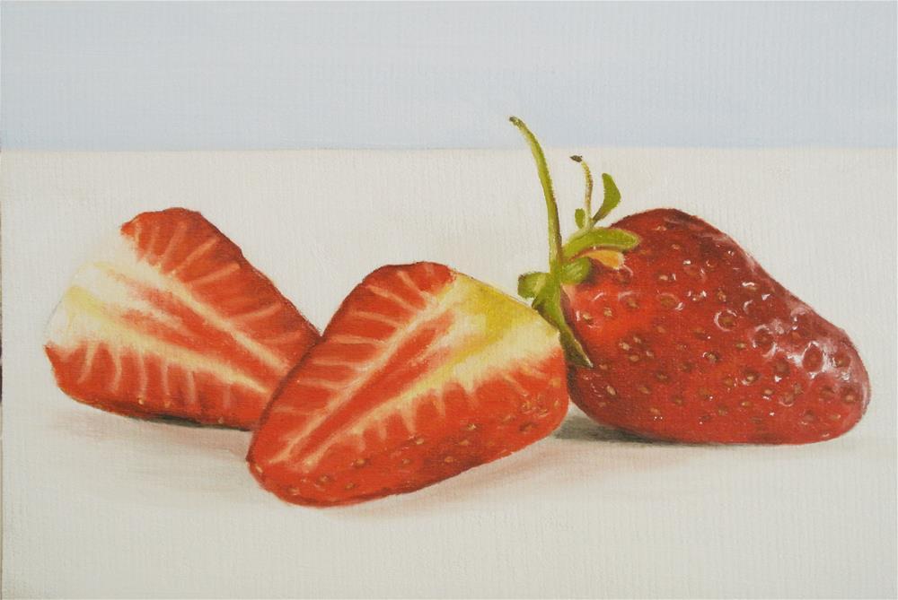 """Strawberry Sliced"" original fine art by James Coates"