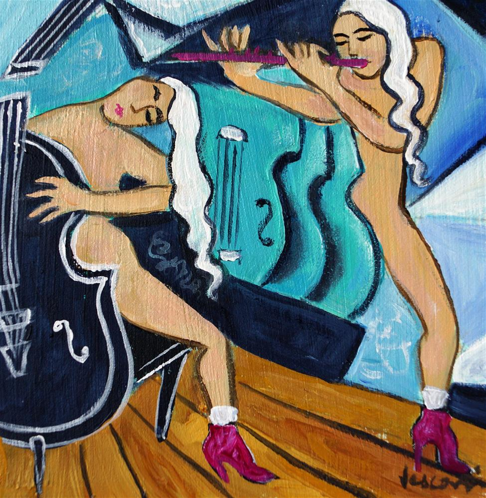 """""""Violoncelle Noir"""" original fine art by Valerie Vescovi"""