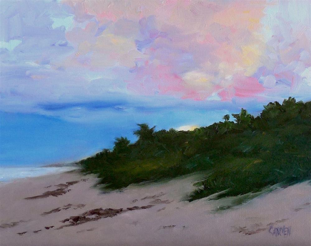 """Morning Has Come, 8x10 Oil on Panel Seascape Sunrise"" original fine art by Carmen Beecher"