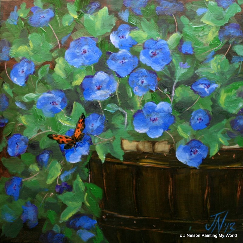 """""""Blue Geraniums and Butterfly"""" original fine art by Jean Nelson"""
