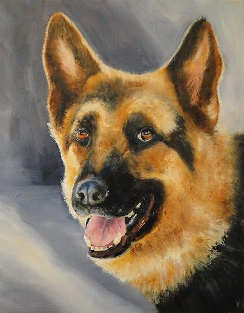 """Portrait of a German Shepherd"" original fine art by Karen Robinson"