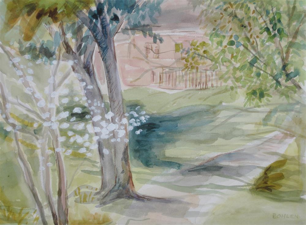 """""""Courtyard"""" original fine art by Priscilla Bohlen"""