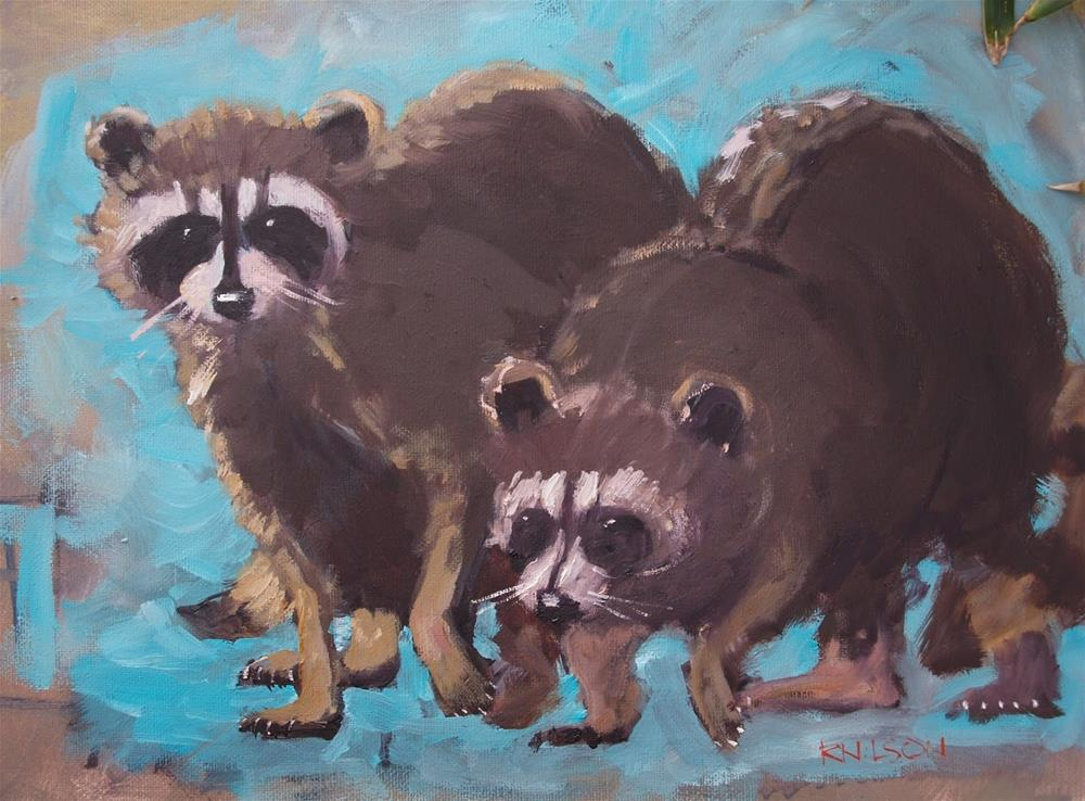 """""""Coons in Blue"""" original fine art by Rick Nilson"""