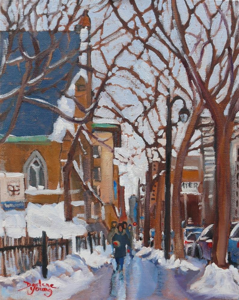 """1077 Ste-Catherine Street, Montreal Winter Scene, 8x10, oil on board"" original fine art by Darlene Young"