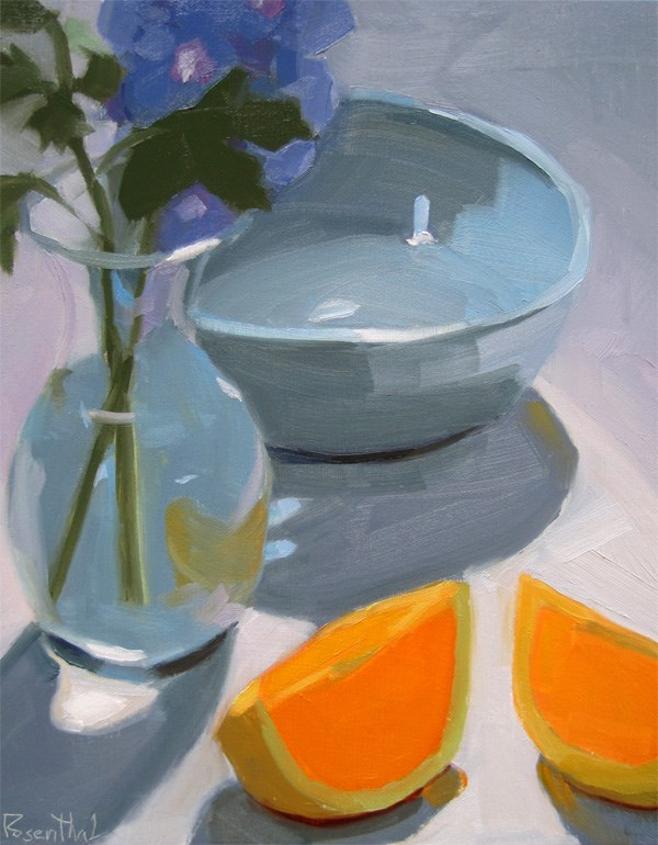 """Blue Bowl and Flower"" original fine art by Robin Rosenthal"