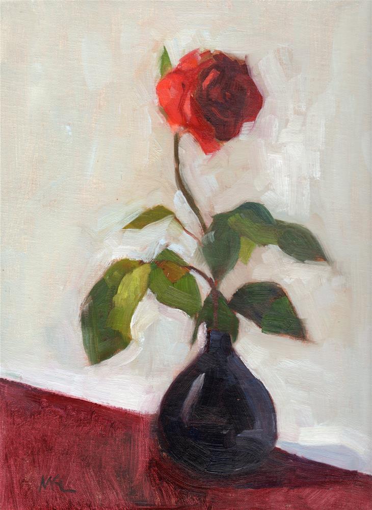"""""""Rose in Black Vase"""" original fine art by Marlene Lee"""