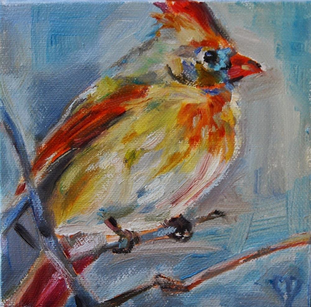 """Female Cardinal, Original oil by Carol DeMumbrum"" original fine art by Carol DeMumbrum"