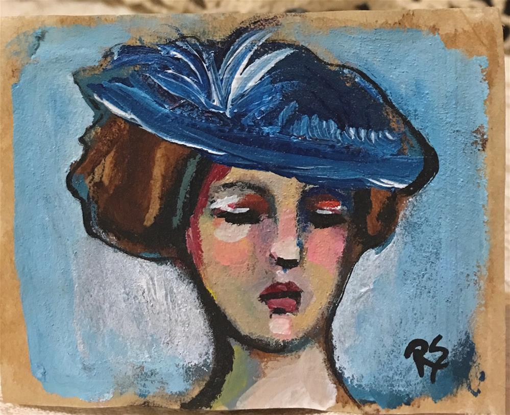 """Girl in the Blue Hat"" original fine art by Roberta Schmidt ArtcyLucy"