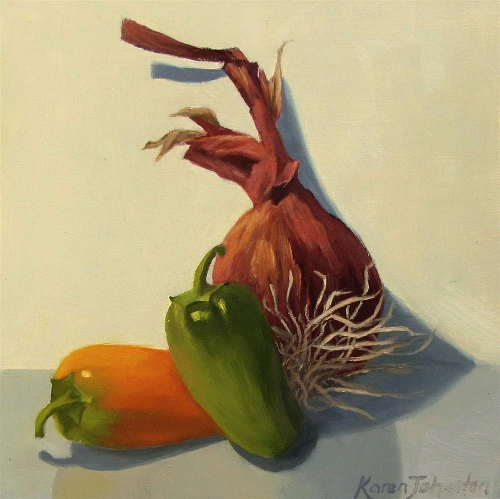 """Red Onion and Baby Peppers"" original fine art by Karen Johnston"