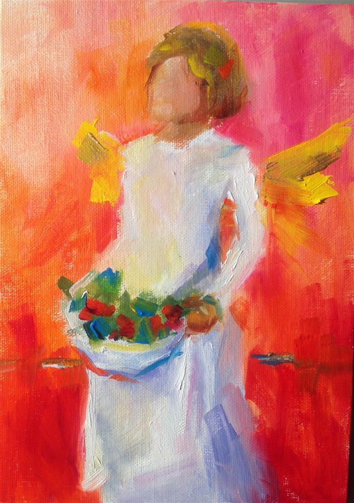 """""""Christmas Angel Reds"""" original fine art by Sue Churchgrant"""