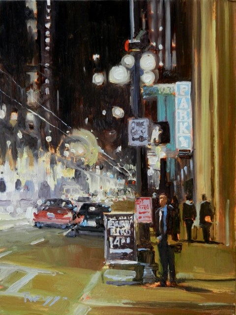 """""""The Early Bird  Seattle city oil painting by Robin Weiss"""" original fine art by Robin Weiss"""