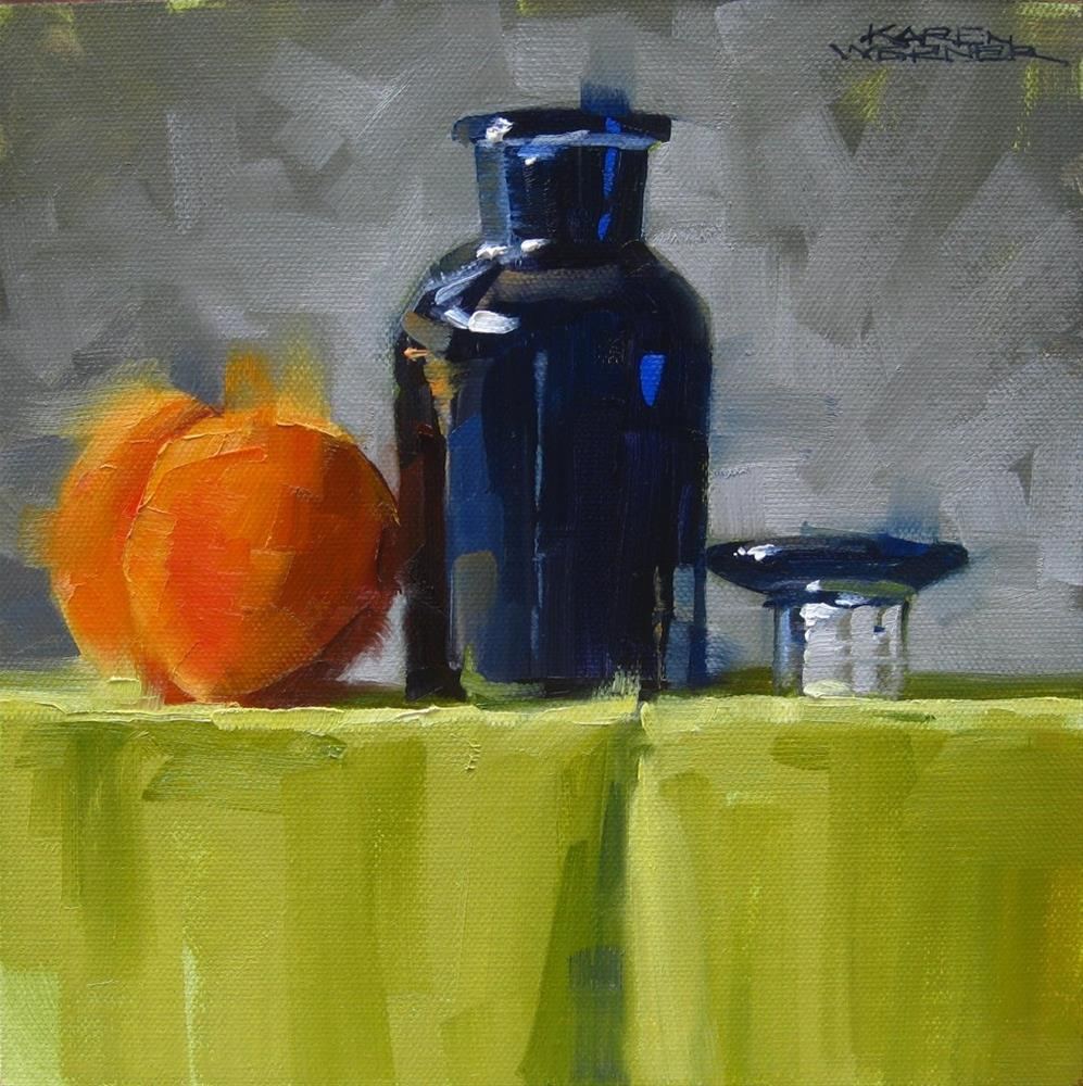 """Apricot & Blue On A Ledge"" original fine art by Karen Werner"