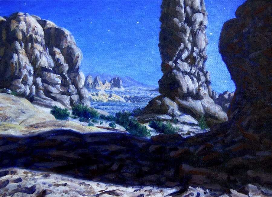"""C1649 ""Moonlight in the Garden of Eden,"" Arches NP"" original fine art by Steven Thor Johanneson"
