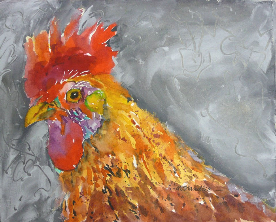 """Rooster #2 of 5 11081"" original fine art by Nancy Standlee"