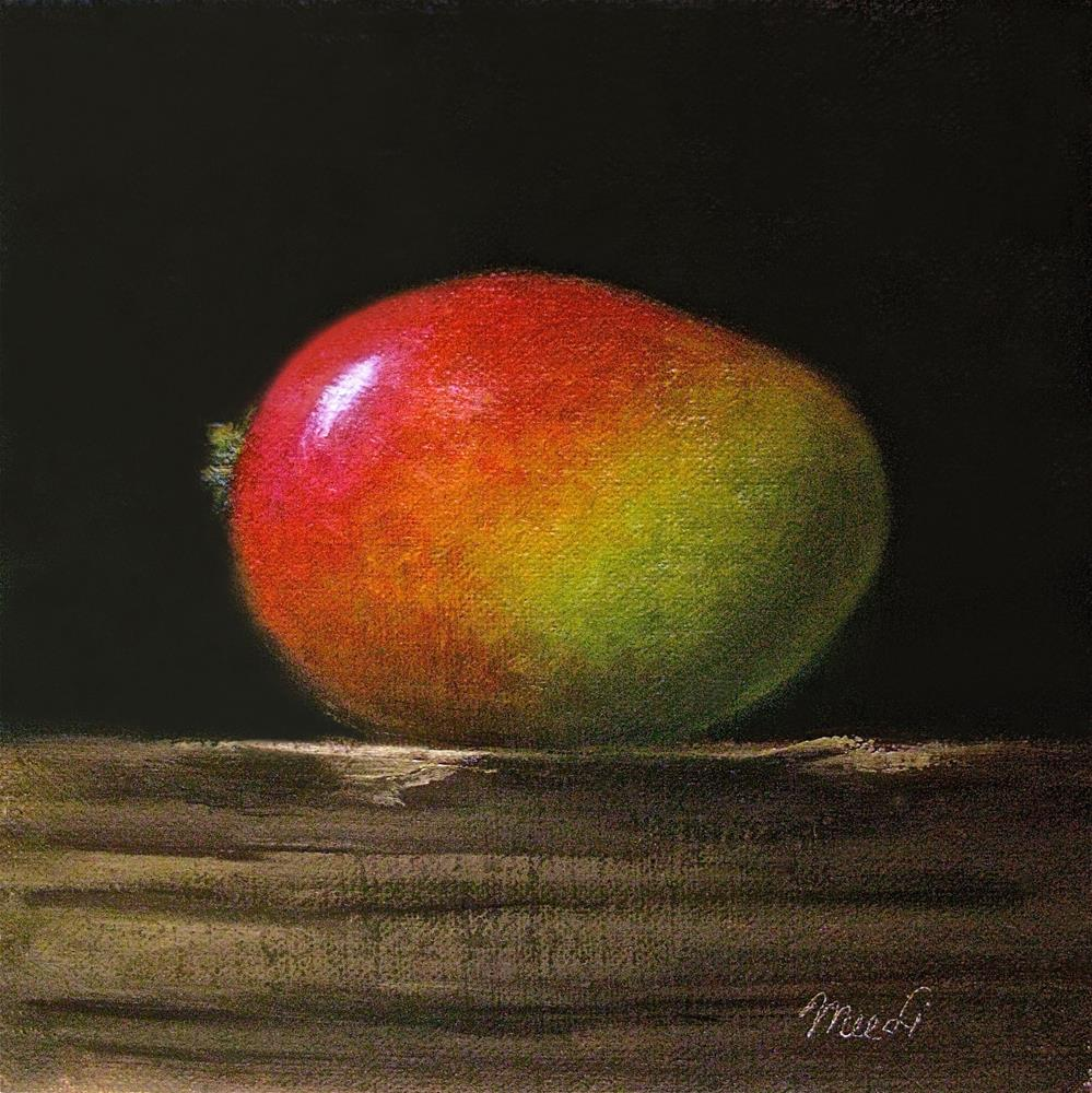 """Mango On Wood Block II"" original fine art by MeeLi Lee"