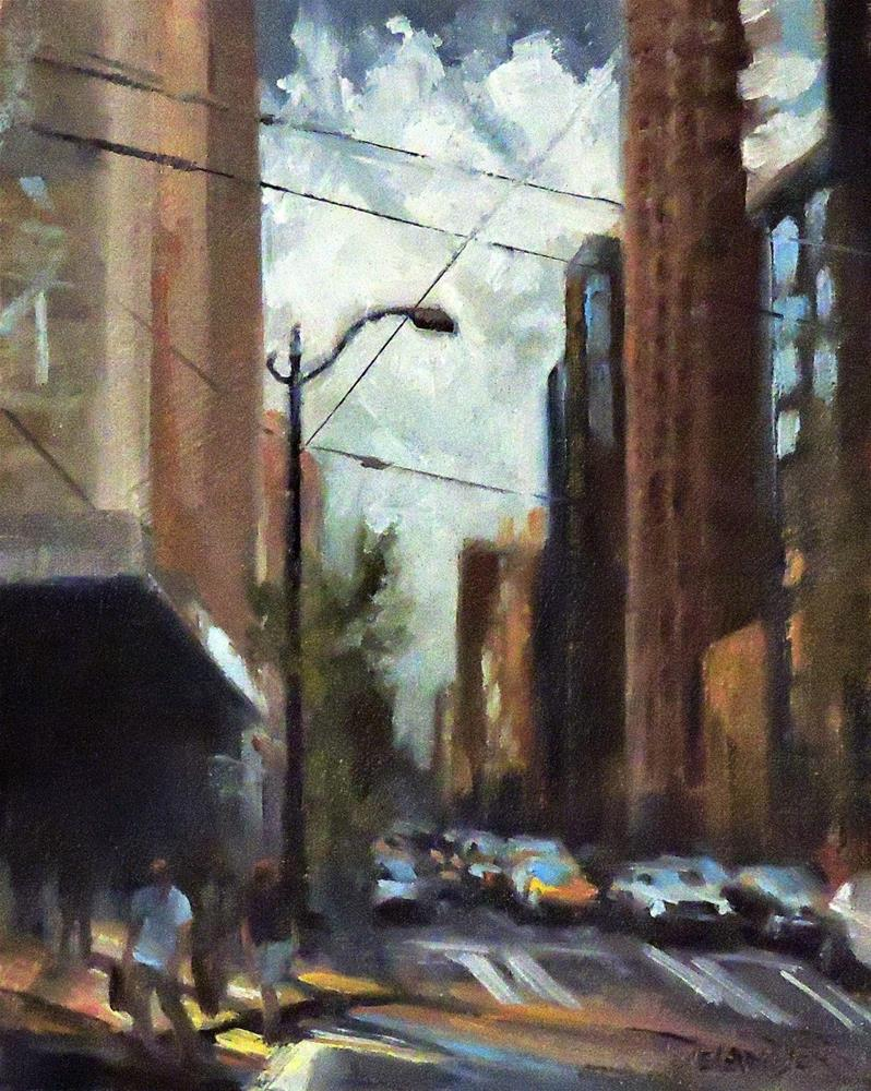 """""""Cityscape, Original Oil Painting by Diana Delander"""" original fine art by Diana Delander"""