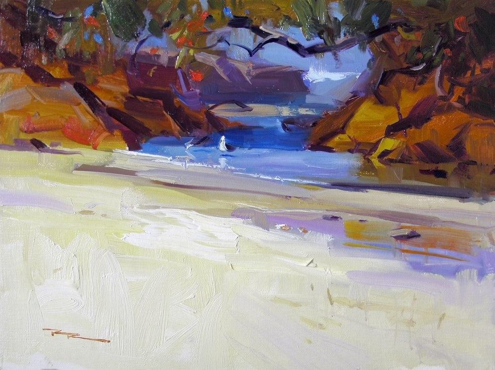 """Low Tide, Waipu Cove"" original fine art by Richard Robinson"