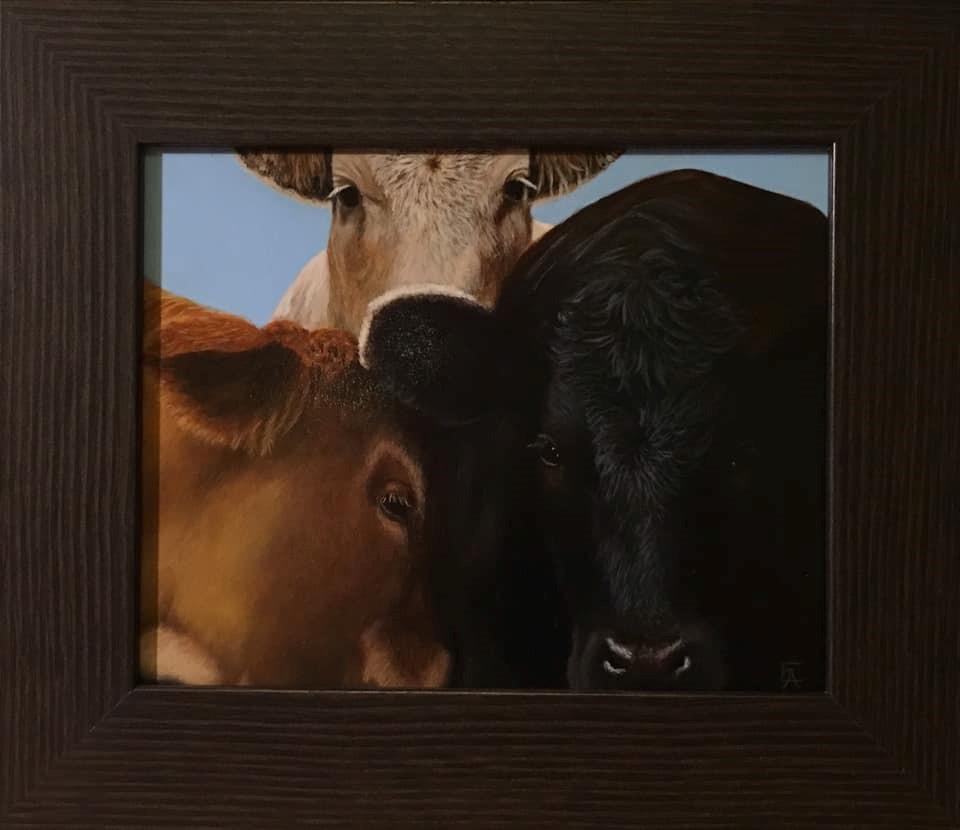 """3 Moos for You"" original fine art by Elizabeth Elgin"