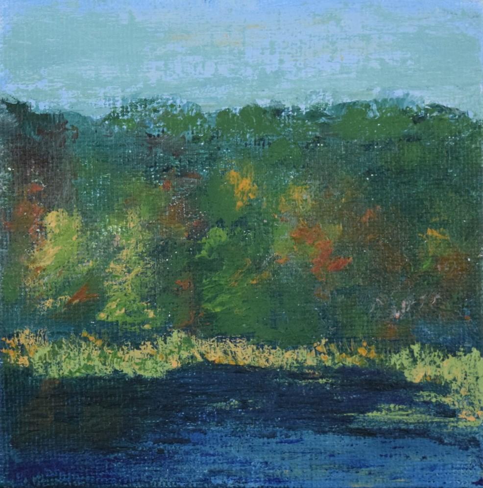 """Round Pond in Autumn, Berkshires, Mini Study 1"" original fine art by Tisha Mark"