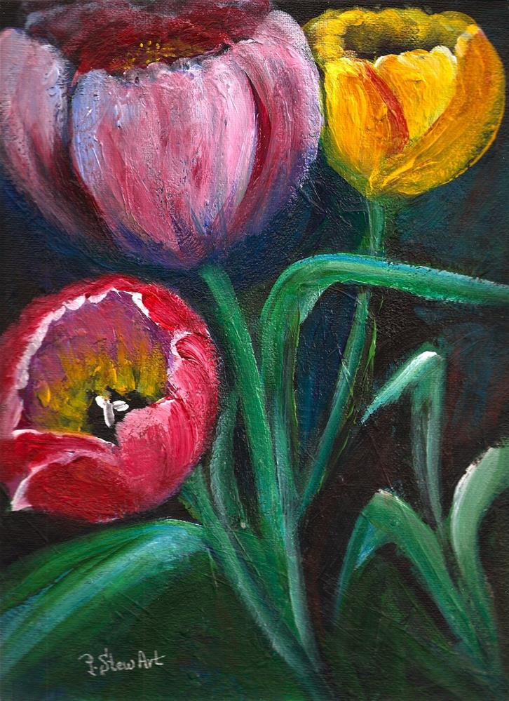 """9x12 Colorful Tulips Impasto Style Acrylic on Canvas Board, not a print"" original fine art by Penny Lee StewArt"