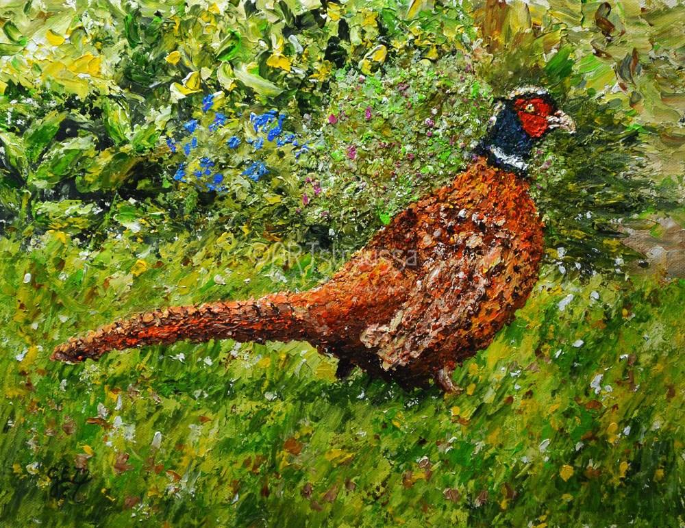 """SALE!!! Pleasant Pheasant"" original fine art by Gloria Ester"