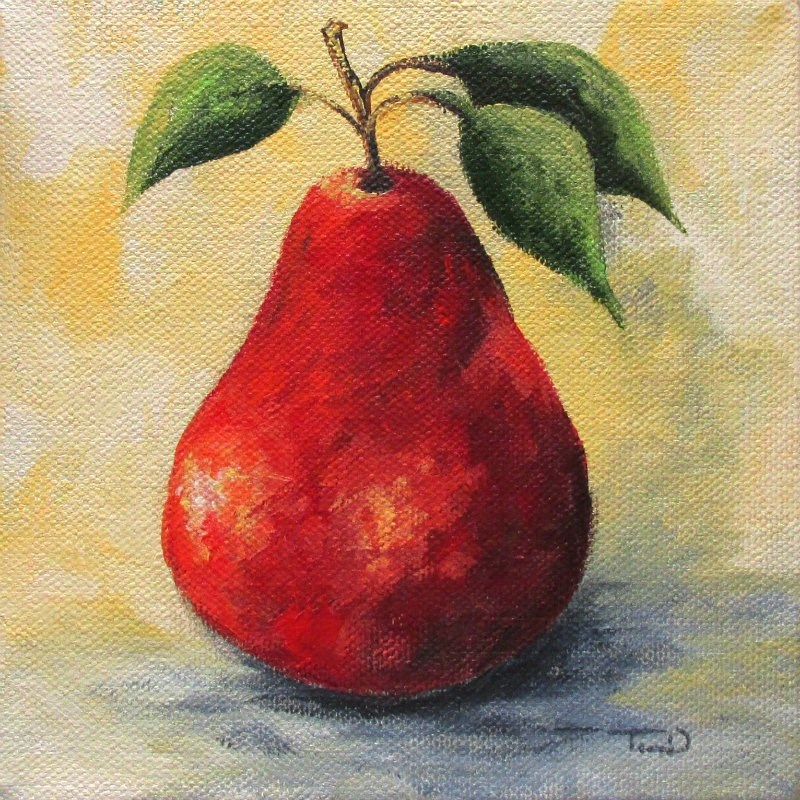 """""""The Single Red Pear"""" original fine art by Torrie Smiley"""