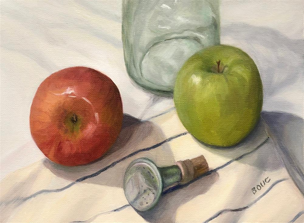 """Grandma's Laundry Sprinkler and Apples"" original fine art by Jana Bouc"