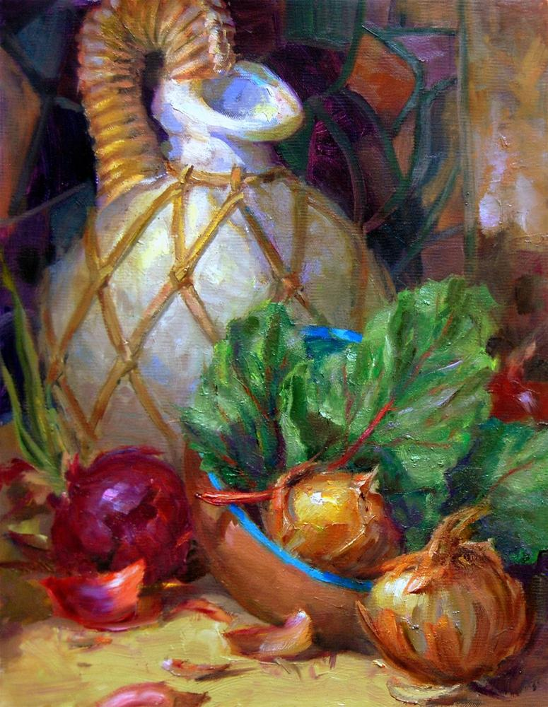 """""""First Onion Painting"""" original fine art by Julie Ford Oliver"""