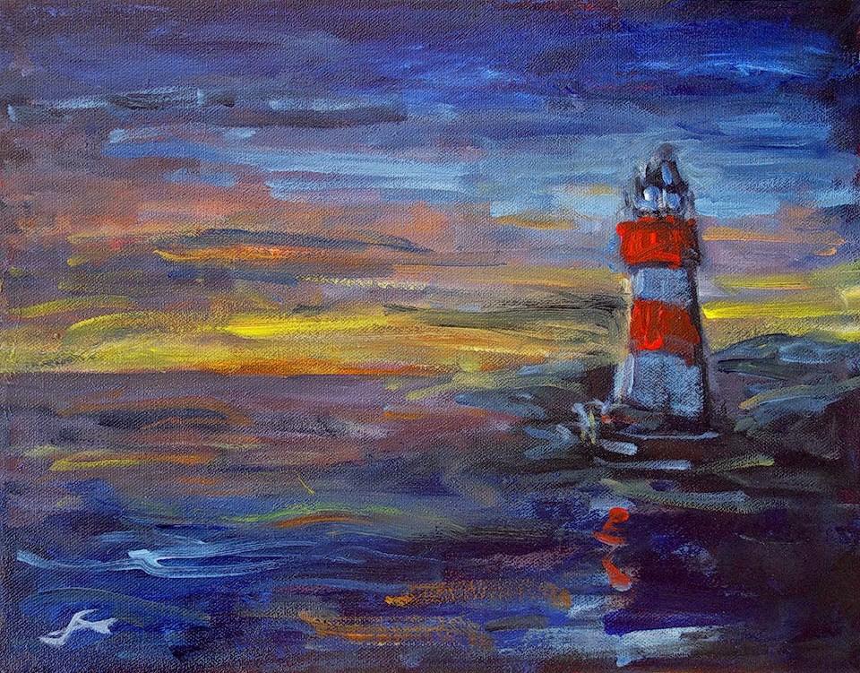 """Lighthouse"" original fine art by J. Farnsworth"