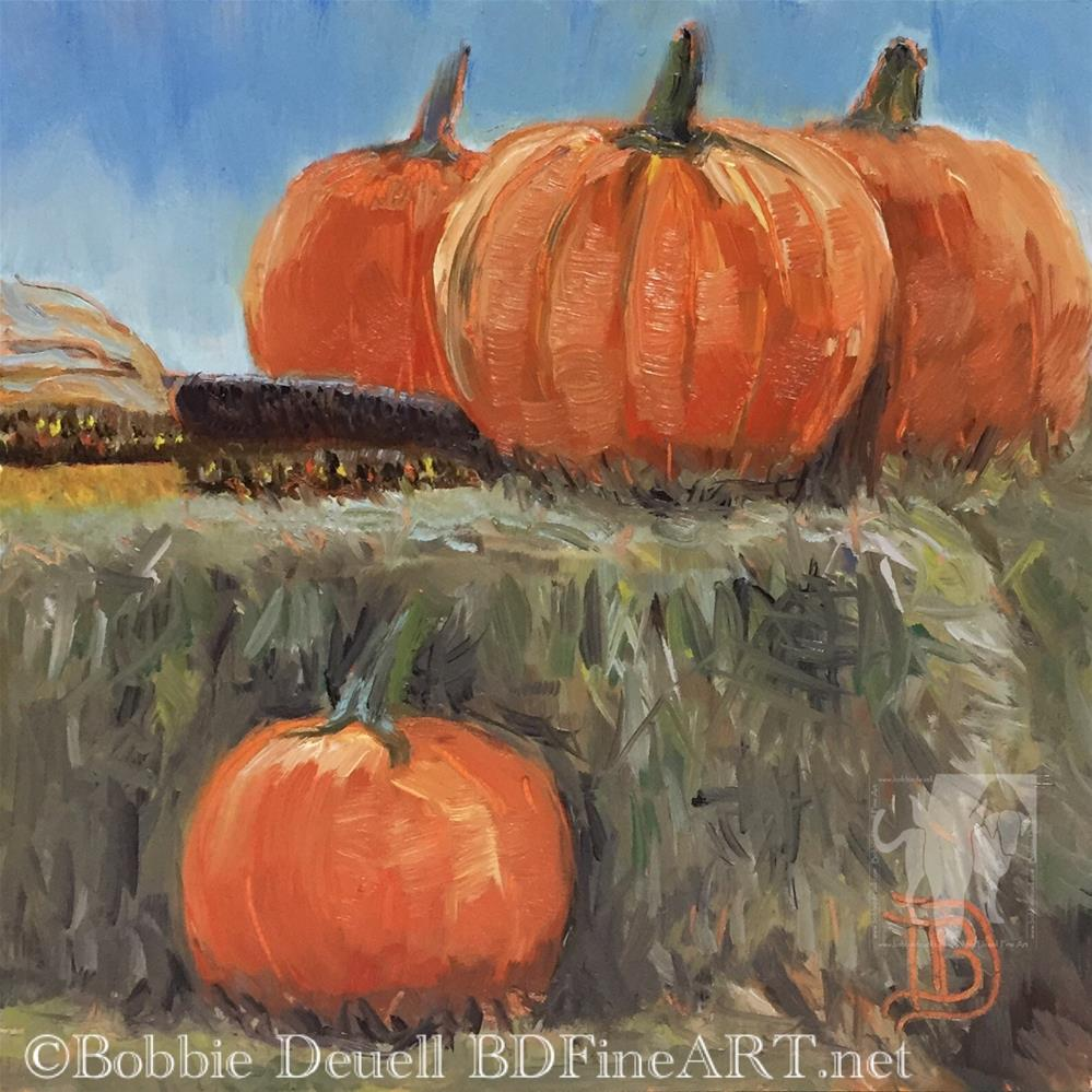 """#48 More Pumpkins Sitting Pretty"" original fine art by Bobbie Deuell"