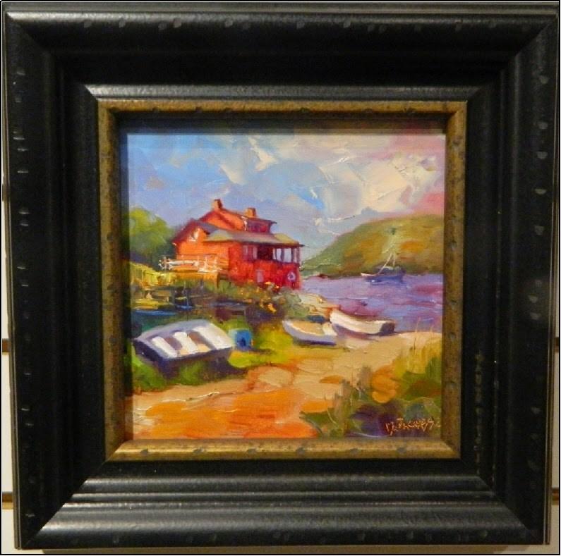 """The Red House, Swim Beach, 6x6, oil , Monhegan Island, Venice Art Center, award-winning paintings,"" original fine art by Maryanne Jacobsen"
