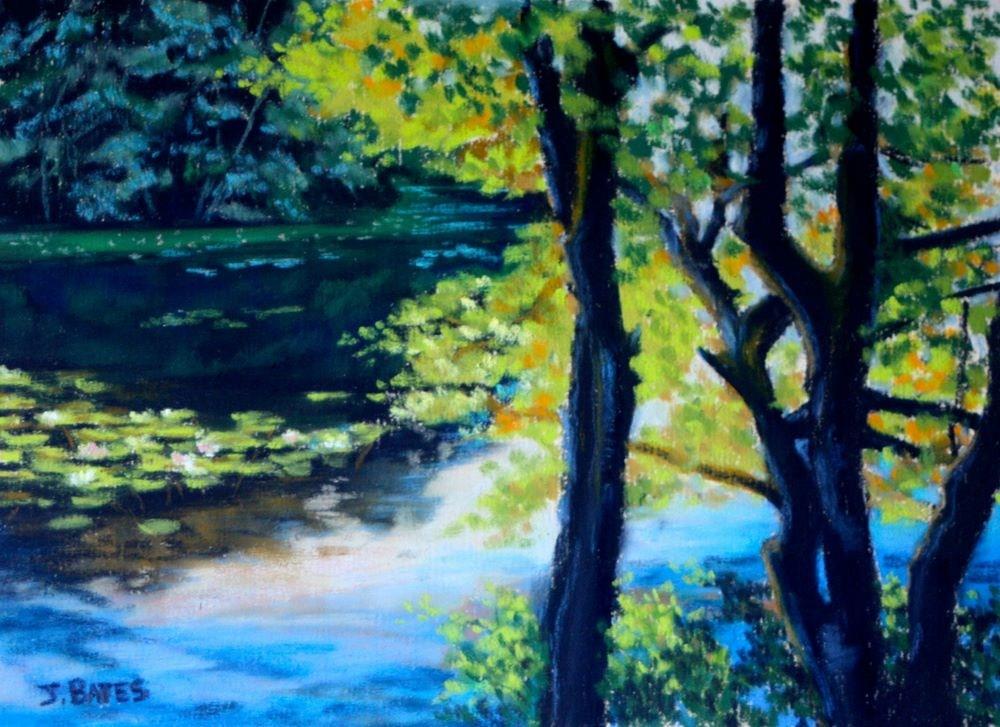 """A View of Eagle Pond"" original fine art by Jill Bates"