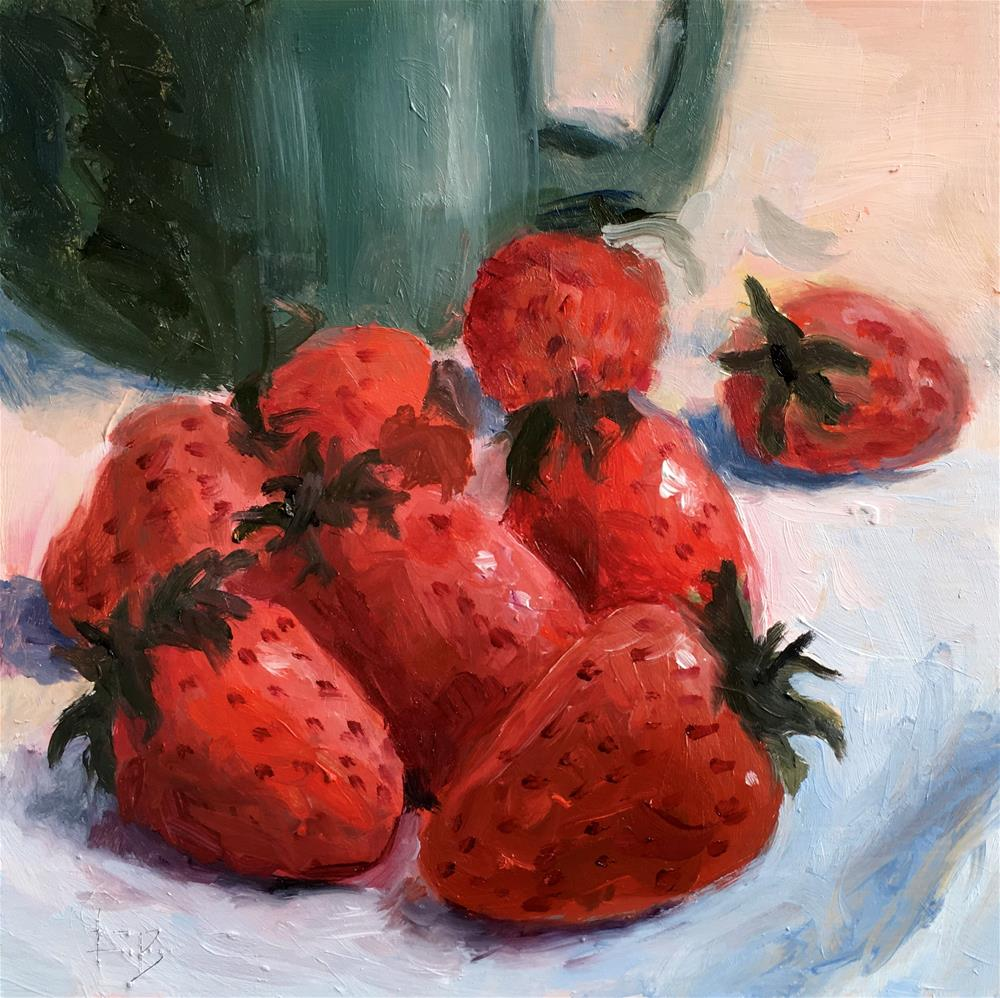 """""""063 Strawberries, free shipping"""" original fine art by Fred Bell"""