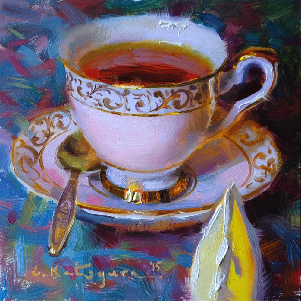 """Tea in Pink and Lemon"" original fine art by Elena Katsyura"
